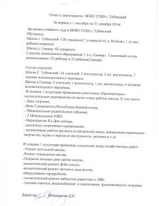 отчет директора МОБУ СОШ с. Тубинский Байназаровой Д.И.